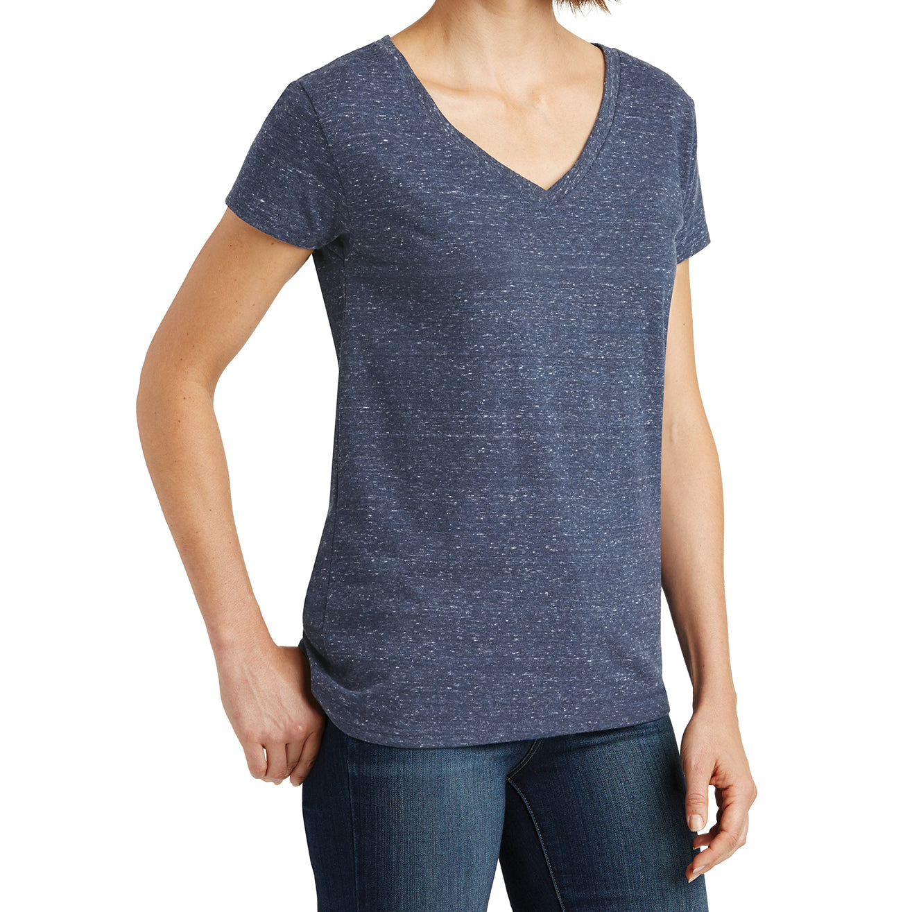 Womens Cosmic Relaxed V-Neck Tee - Navy/Royal Cosmic - Side