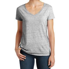 Womens Cosmic Relaxed V-Neck Tee - White/Black Cosmic - Front