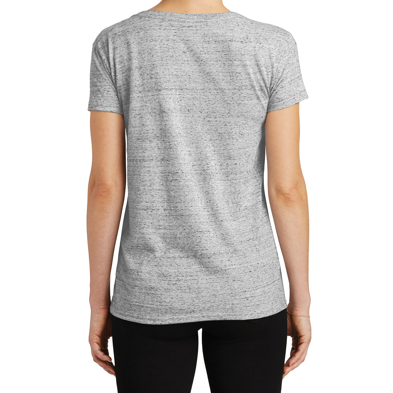 Womens Cosmic Relaxed V-Neck Tee - White/Black Cosmic - Back