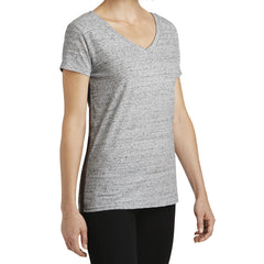 Womens Cosmic Relaxed V-Neck Tee - White/Black Cosmic - Side