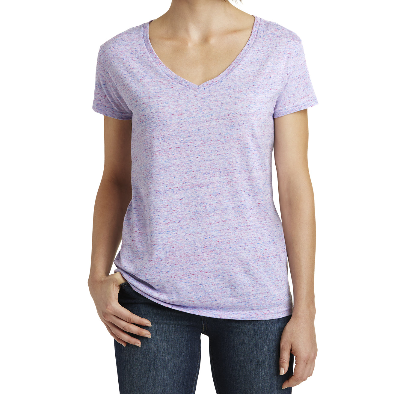 Womens Cosmic Relaxed V-Neck Tee - White/Pink Cosmic - Front