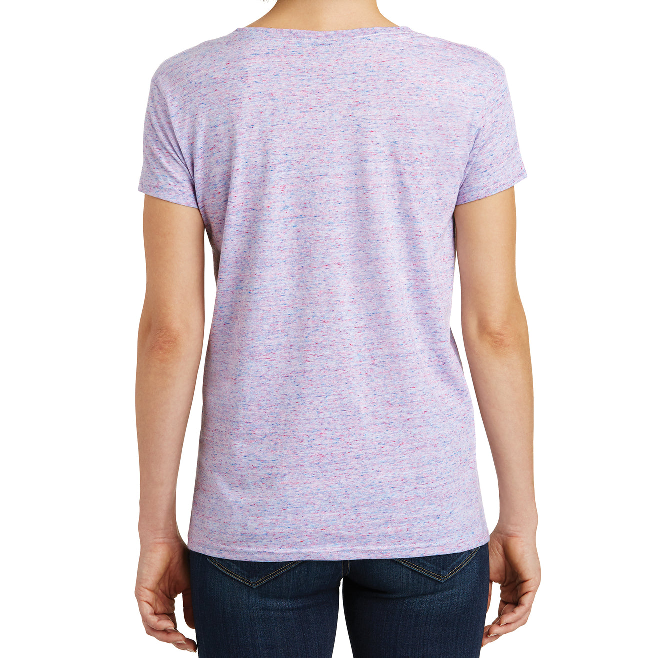 Womens Cosmic Relaxed V-Neck Tee - White/Pink Cosmic - Back