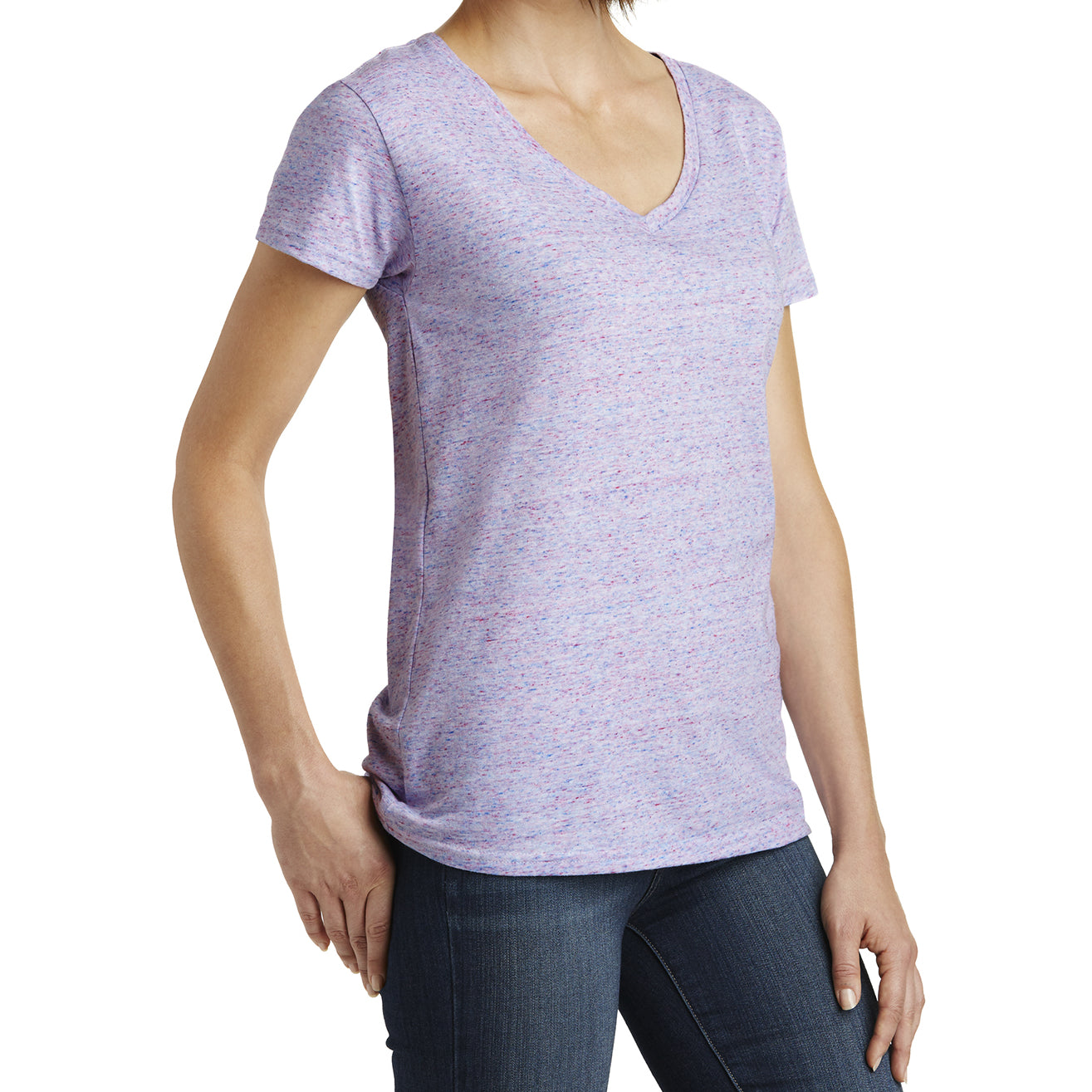 Womens Cosmic Relaxed V-Neck Tee - White/Pink Cosmic - Side