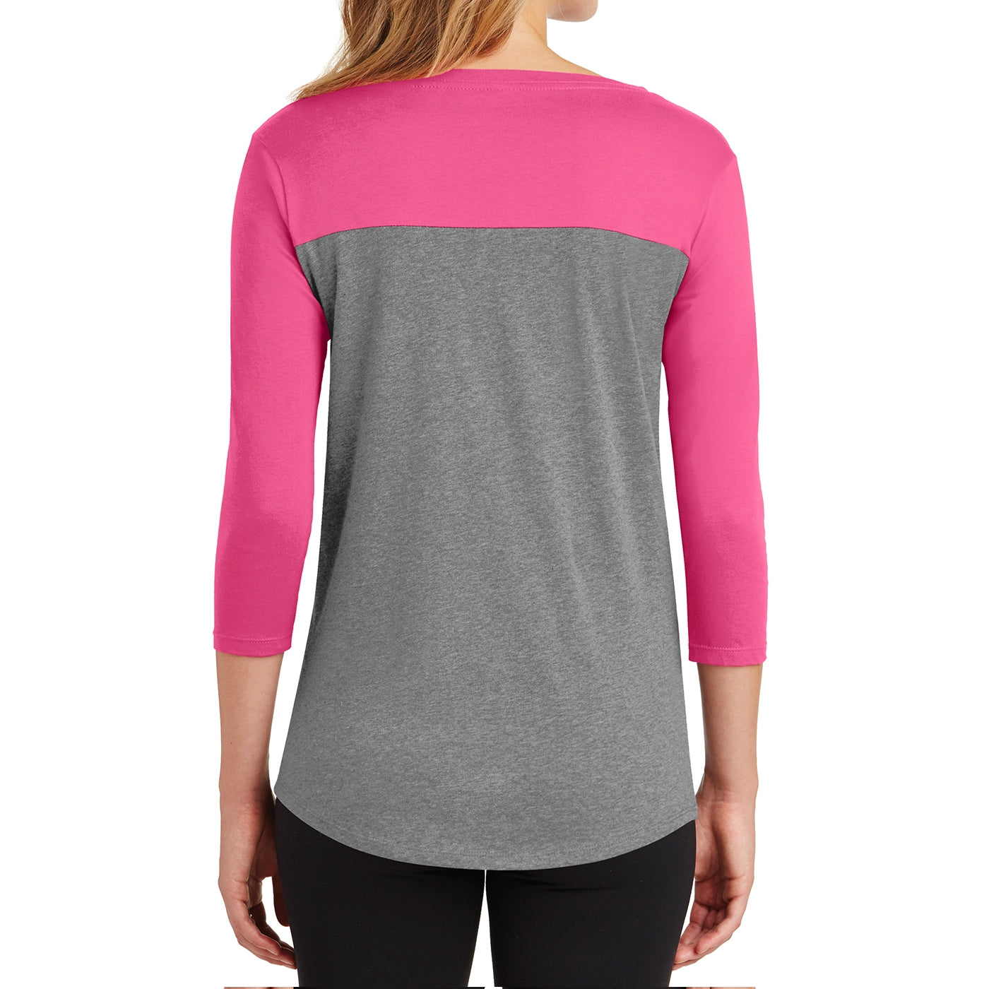 Women's Juniors Rally 3/4-Sleeve Tee - Dark Fuchsia/ Grey Frost