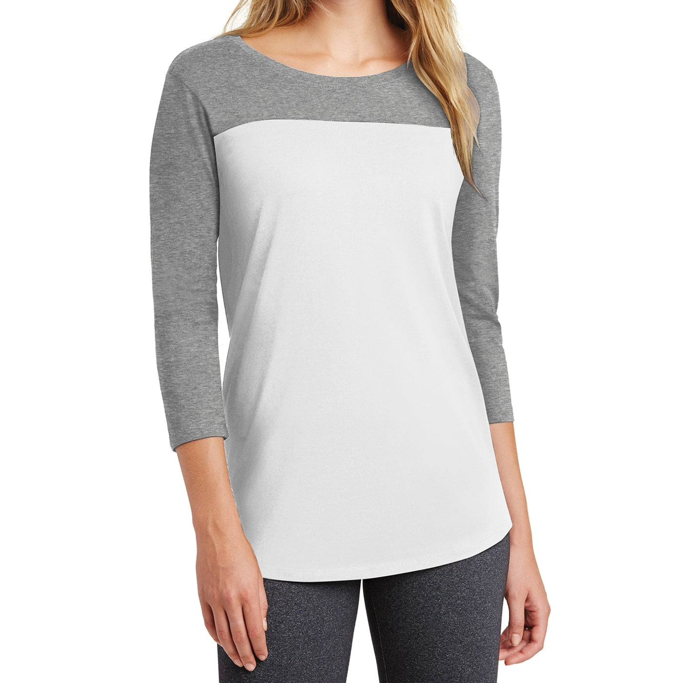 Women's Juniors Rally 3/4-Sleeve Tee - Grey Frost/ White
