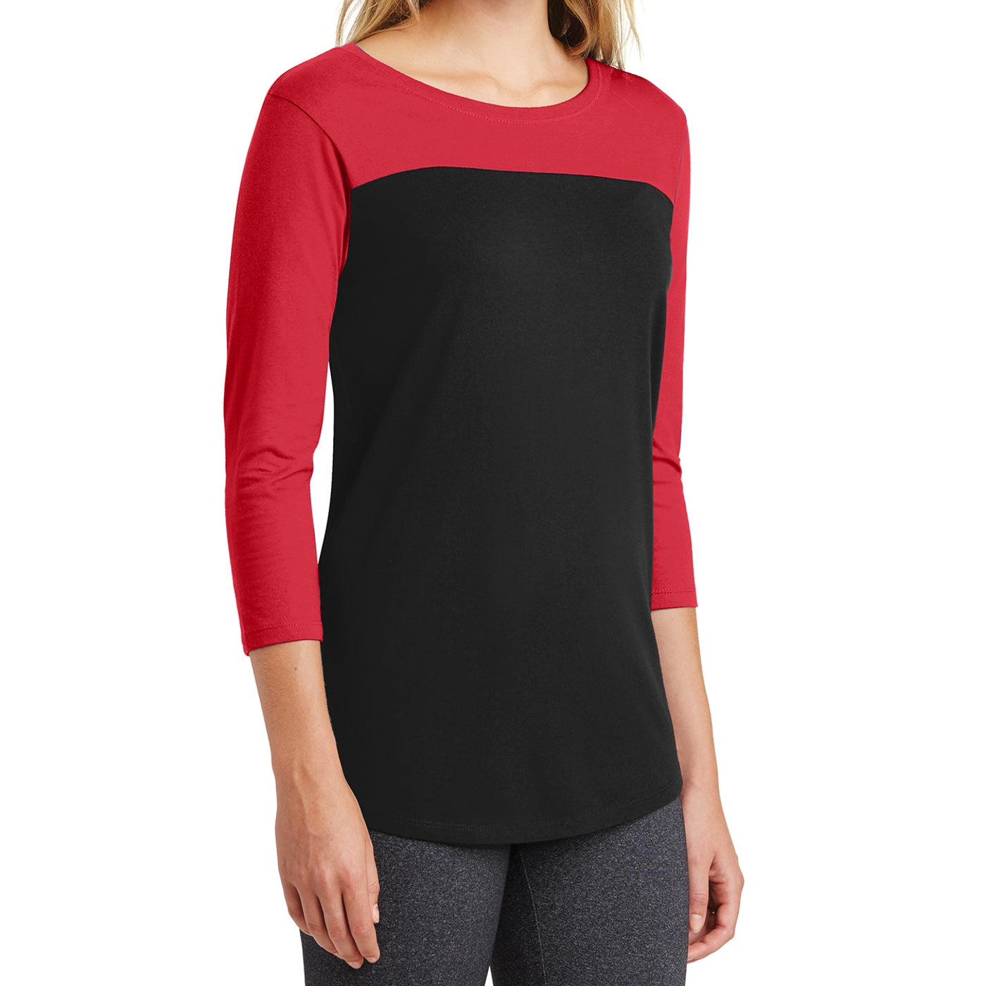 Women's Juniors Rally 3/4-Sleeve Tee - New Red/ Black