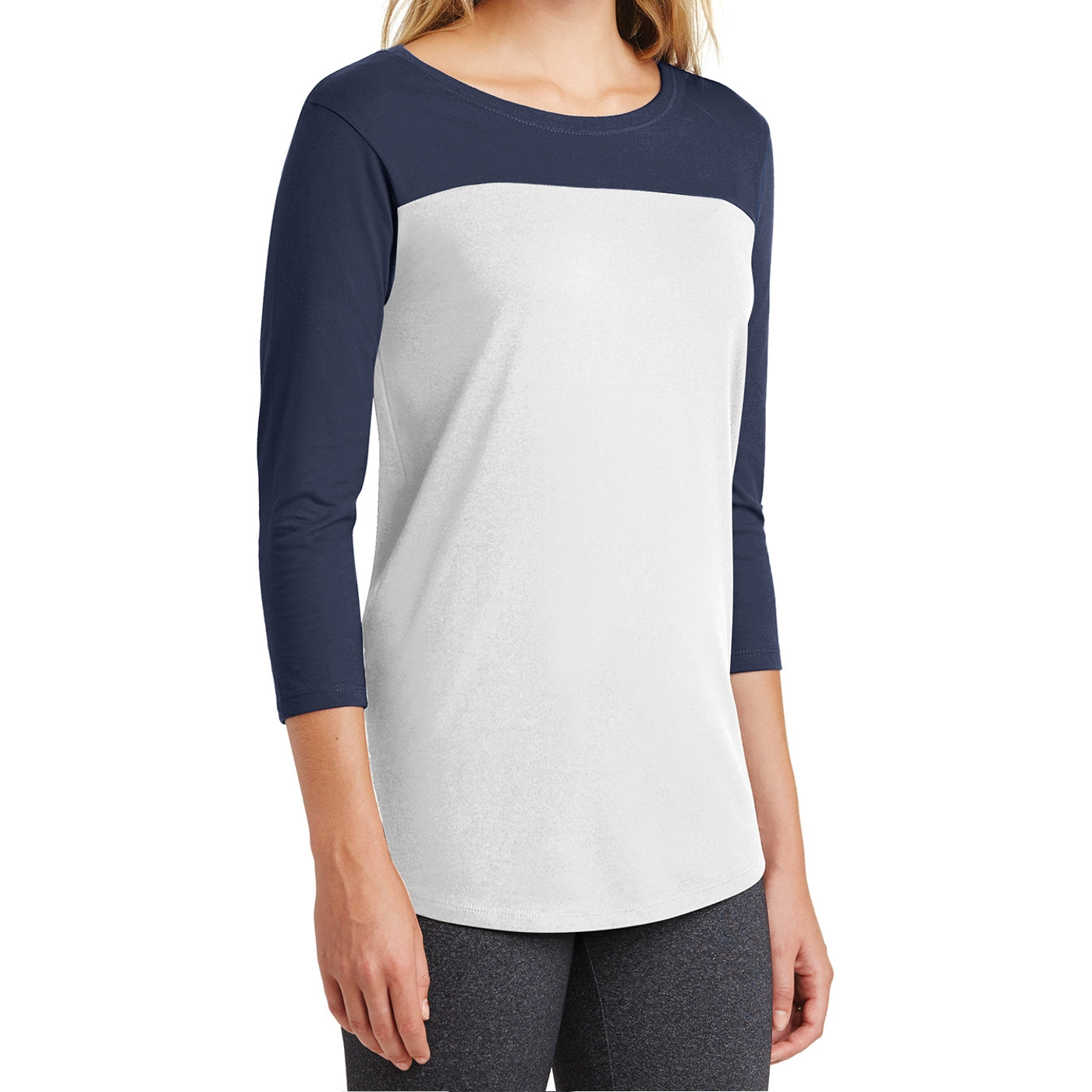 Women's Juniors Rally 3/4-Sleeve Tee - True Navy/ White