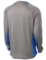Mafoose Men's Long Sleeve Heather Colorblock Contender Tee Shirt Vintage Heather/ True Royal-Back