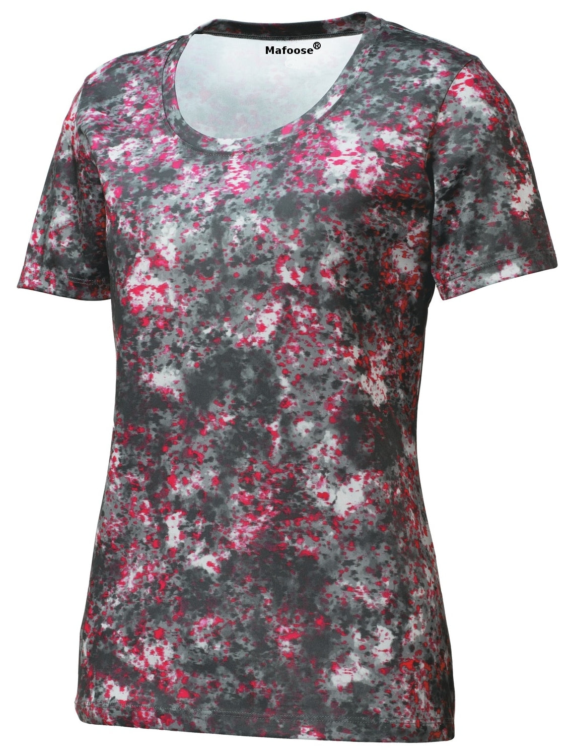 Mafoose Ladies Mineral Freeze Scoop Neck Tee Shirt Pink Raspberry-Front