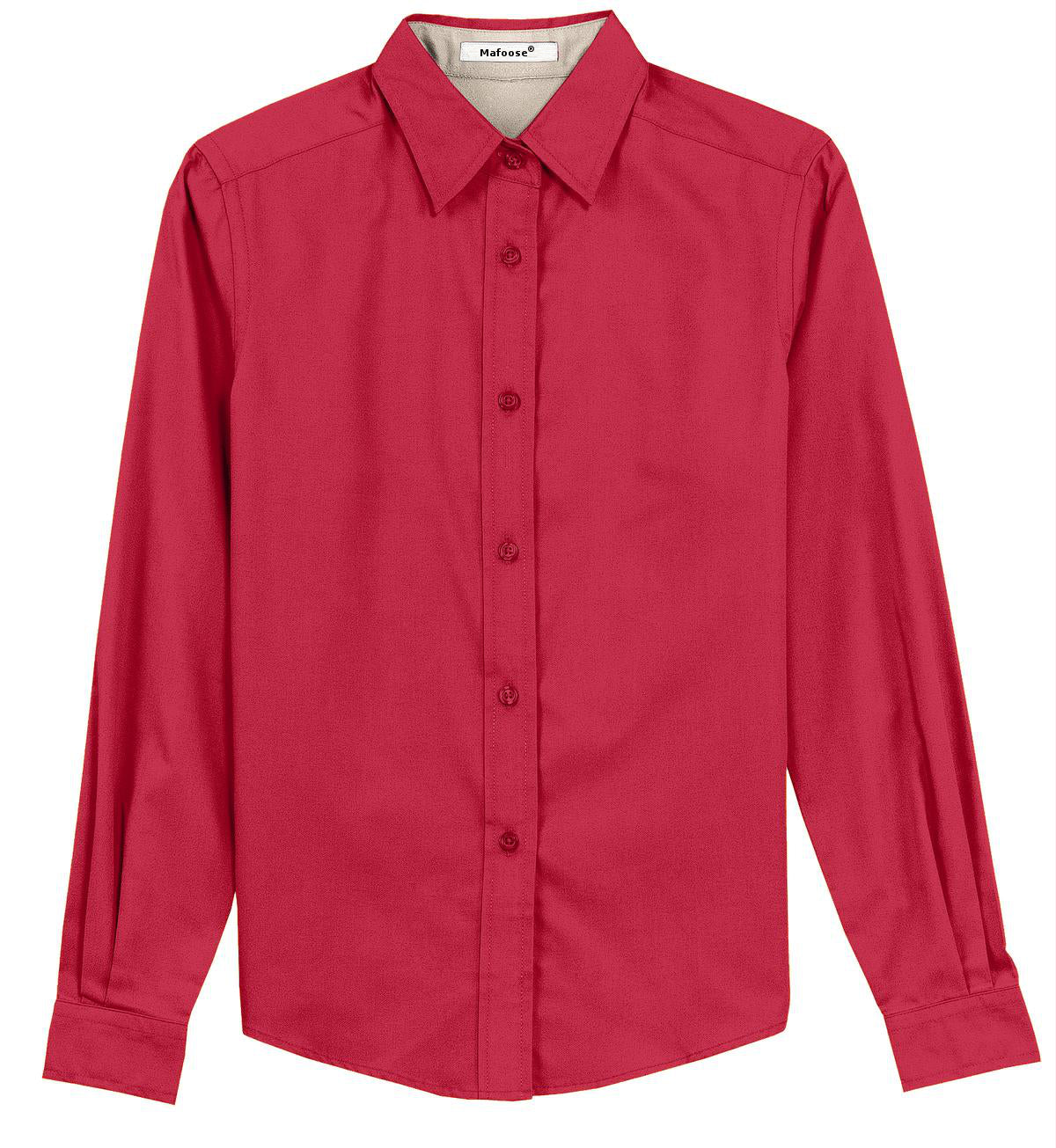 Mafoose Women's Long Sleeve Easy Care Shirt Red/Light Stone-Front