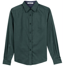 Mafoose Women's Long Sleeve Easy Care Shirt Dark Green/Navy-Front