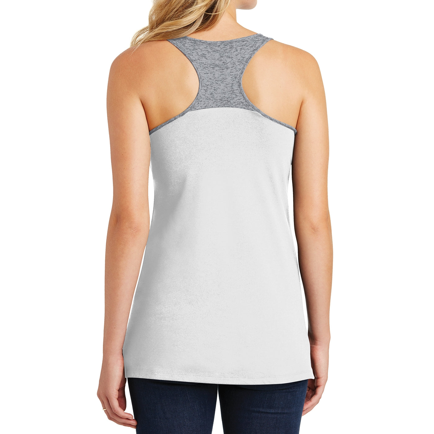 District Juniors Varsity Tank - White/ Heathered Nickel
