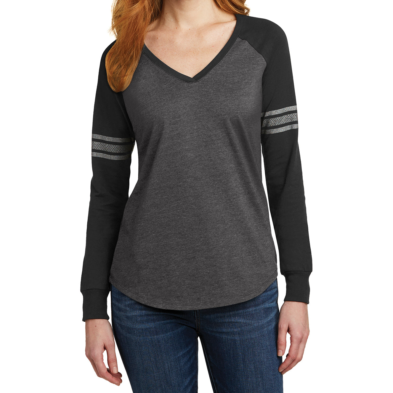 Women's Game Long Sleeve V-Neck Tee - Heathered Charcoal/ Black/ Silver - Front