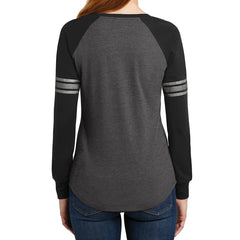 Women's Game Long Sleeve V-Neck Tee - Heathered Charcoal/ Black/ Silver - Back