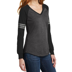 Women's Game Long Sleeve V-Neck Tee - Heathered Charcoal/ Black/ Silver -  Side