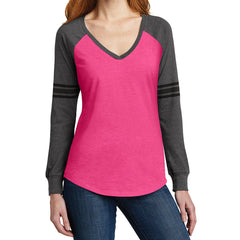 Women's Game Long Sleeve V-Neck Tee - Heathered Dark Fuchsia/ Heathered Charcoal/ Black - Front