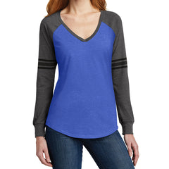 Women's Game Long Sleeve V-Neck Tee - Heathered True Royal/ Heathered Charcoal/ Black - Front