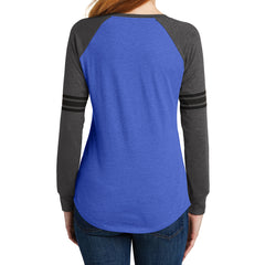 Women's Game Long Sleeve V-Neck Tee - Heathered True Royal/ Heathered Charcoal/ Black - Back
