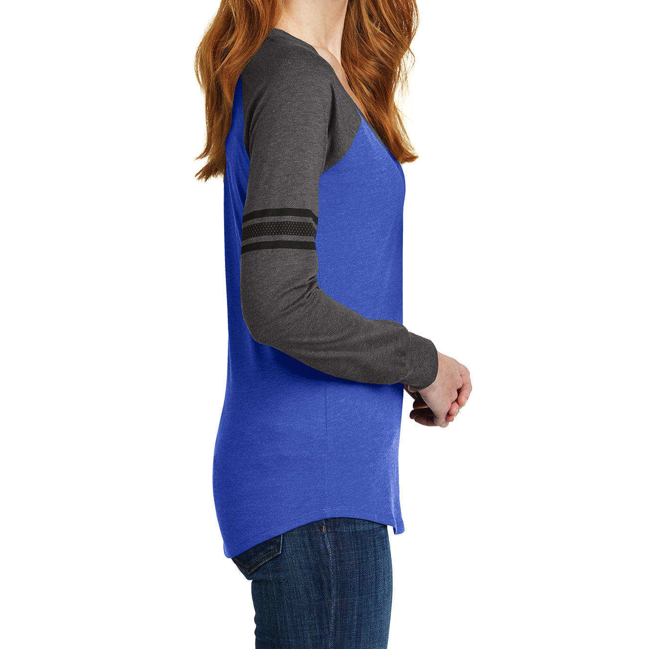 Women's Game Long Sleeve V-Neck Tee - Heathered True Royal/ Heathered Charcoal/ Black -  Side