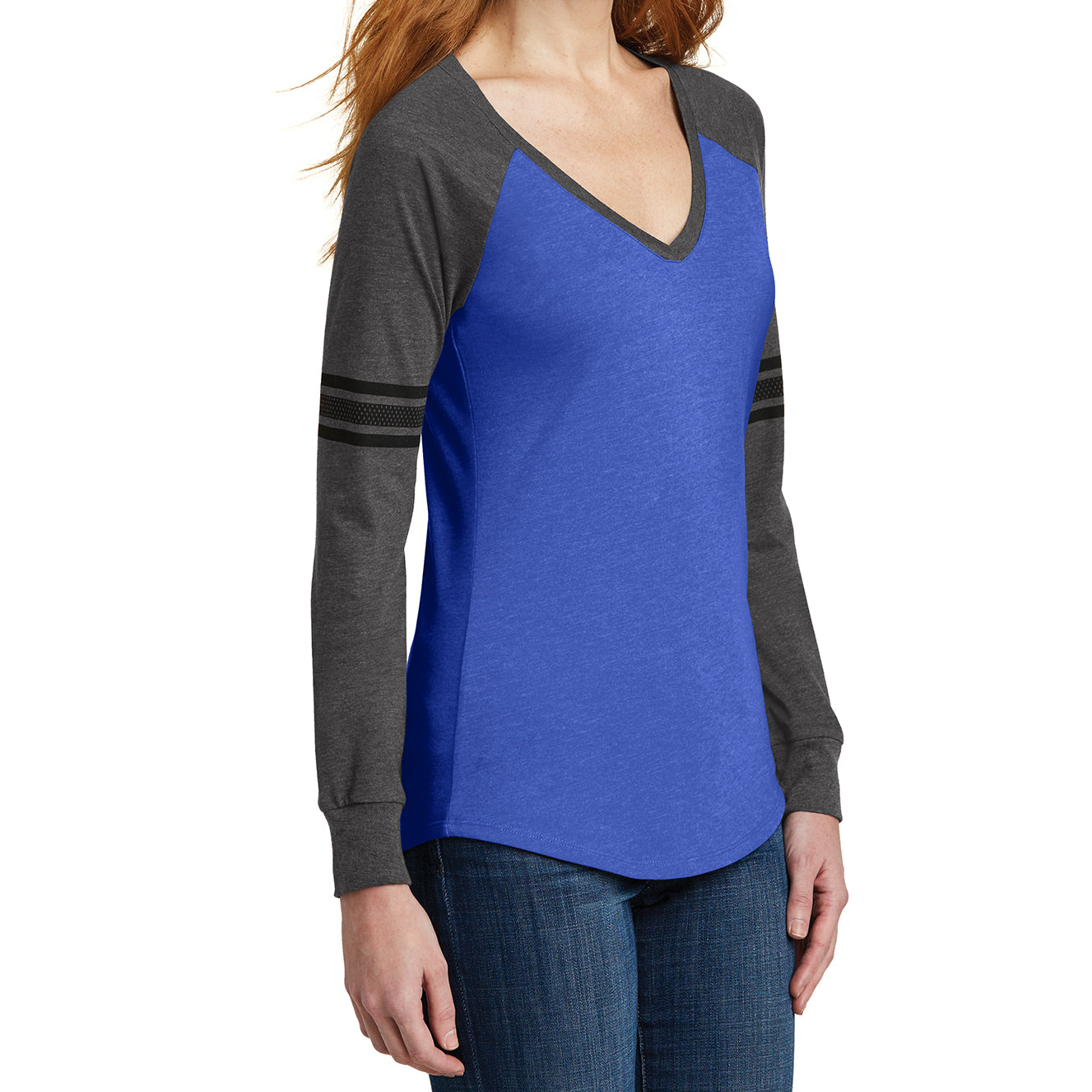 50827863 Women's Game Long Sleeve V-Neck Tee - Heathered True Royal/ Heathered  Charcoal/