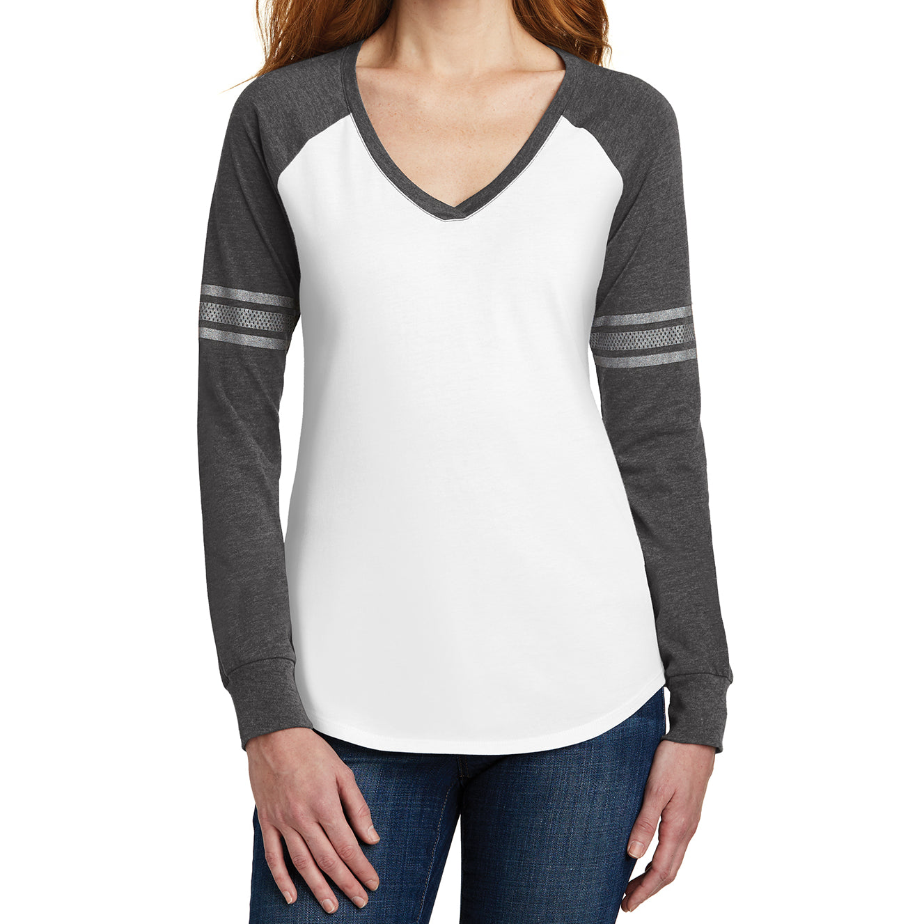 Women's Game Long Sleeve V-Neck Tee - White/ Heathered Charcoal/ Silver - Front