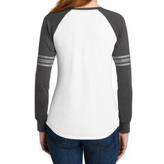 Women's Game Long Sleeve V-Neck Tee - White/ Heathered Charcoal/ Silver - Back
