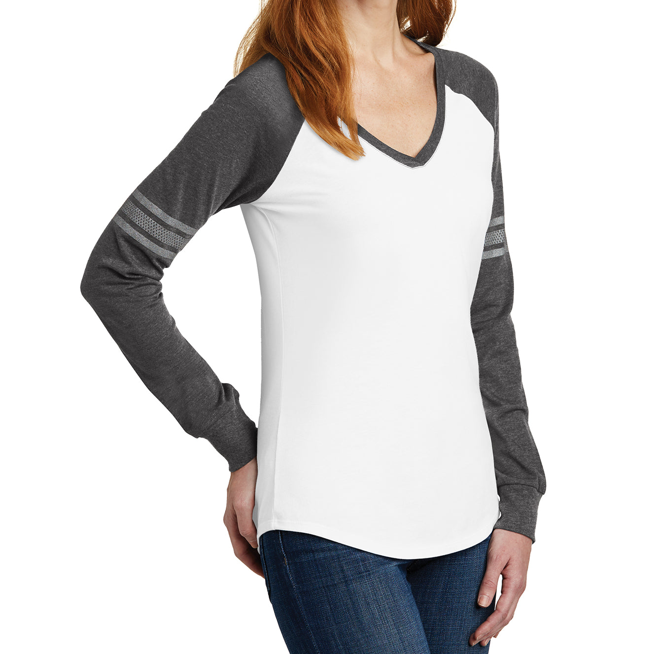 Women's Game Long Sleeve V-Neck Tee - White/ Heathered Charcoal/ Silver - Side
