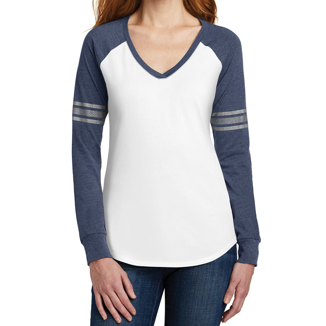 Women's Game Long Sleeve V-Neck Tee - White/ Heathered Navy/ Silver - Front