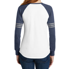 Women's Game Long Sleeve V-Neck Tee - White/ Heathered Navy/ Silver - Back