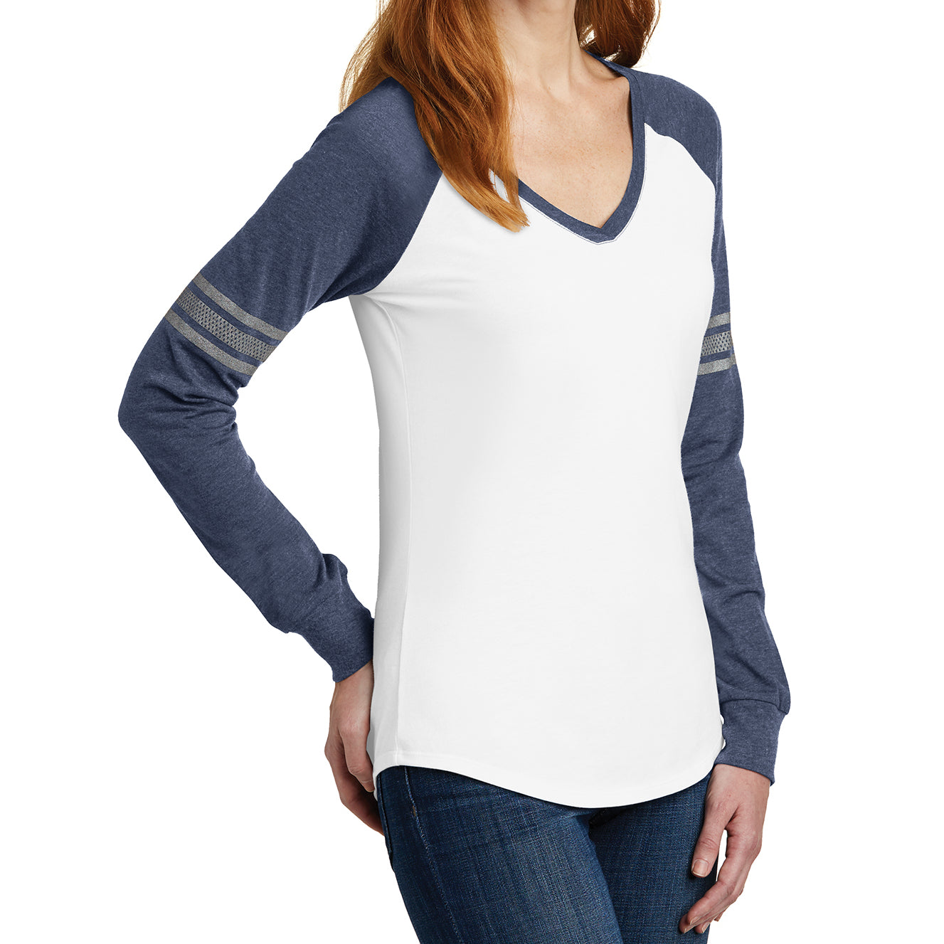 Women's Game Long Sleeve V-Neck Tee - White/ Heathered Navy/ Silver - Side
