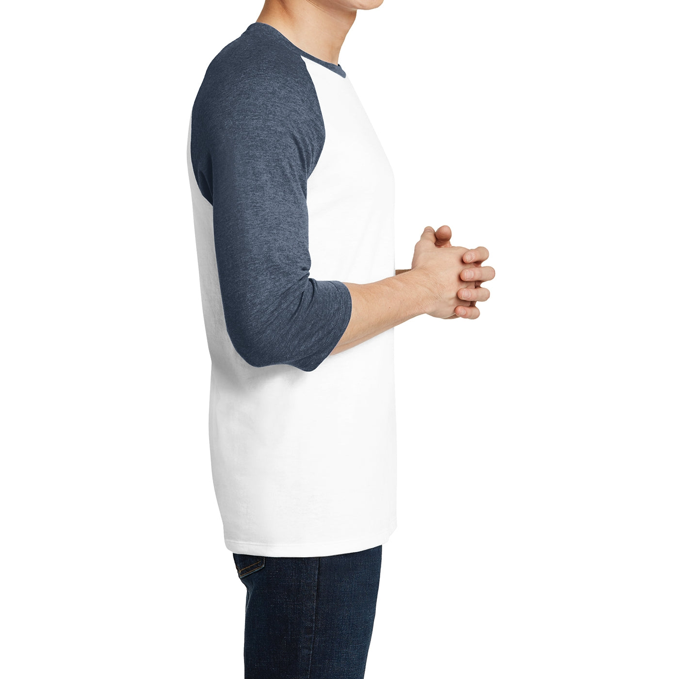 Men's Young  Very Important Tee 3/4-Sleeve Raglan - Heathered Navy/ White