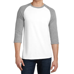 Men's Young  Very Important Tee 3/4-Sleeve Raglan - Light Heather Grey/ White