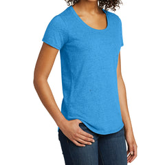 Women's Juniors Scoop Neck Very Important Tee - Heather Bright Turquoise
