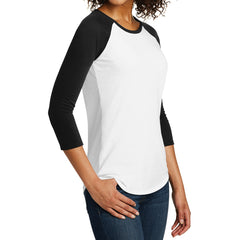 Women's Juniors Very Important Tee 3/4-Sleeve Raglan - Black/ White