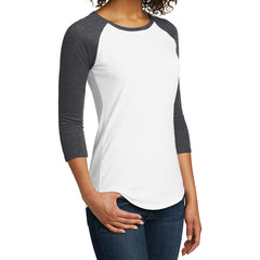 Women's Juniors Very Important Tee 3/4-Sleeve Raglan - Heathered Charcoal/ White