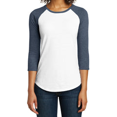 Women's Juniors Very Important Tee 3/4-Sleeve Raglan - Heathered Navy/ White