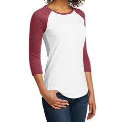 Women's Juniors Very Important Tee 3/4-Sleeve Raglan - Heathered Red/ White