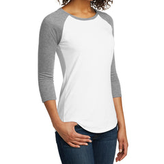 Women's Juniors Very Important Tee 3/4-Sleeve Raglan - Light Heather Grey/ White