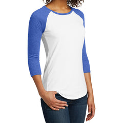 Women's Juniors Very Important Tee 3/4-Sleeve Raglan - Royal Frost/ White
