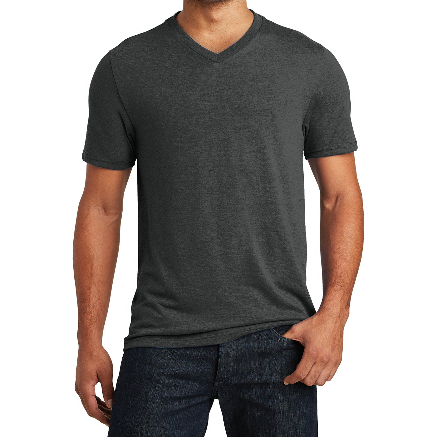 Mens Perfect Tri V-Neck Tee - Black Frost - Front