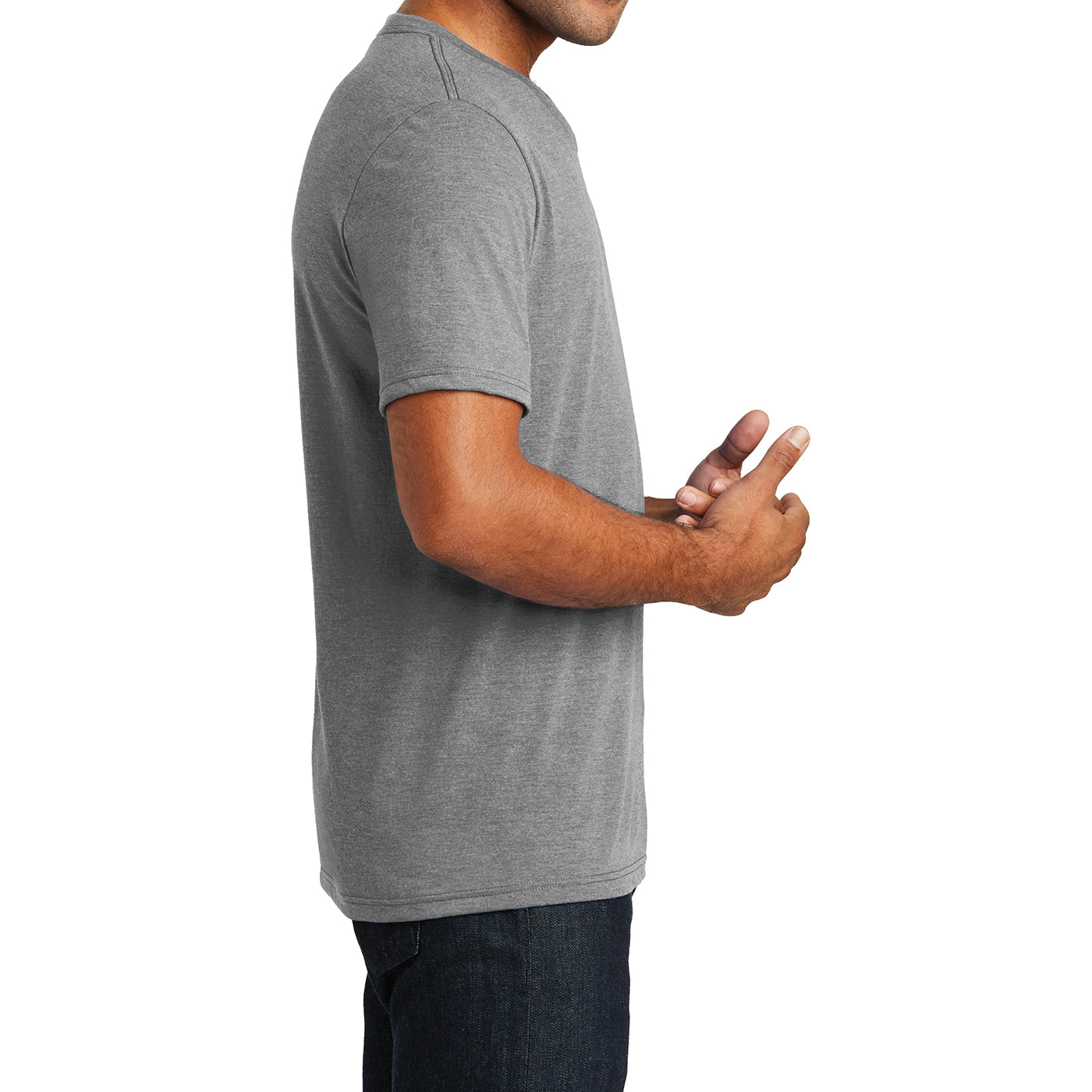 Mens Perfect Tri V-Neck Tee - Grey Frost - Side