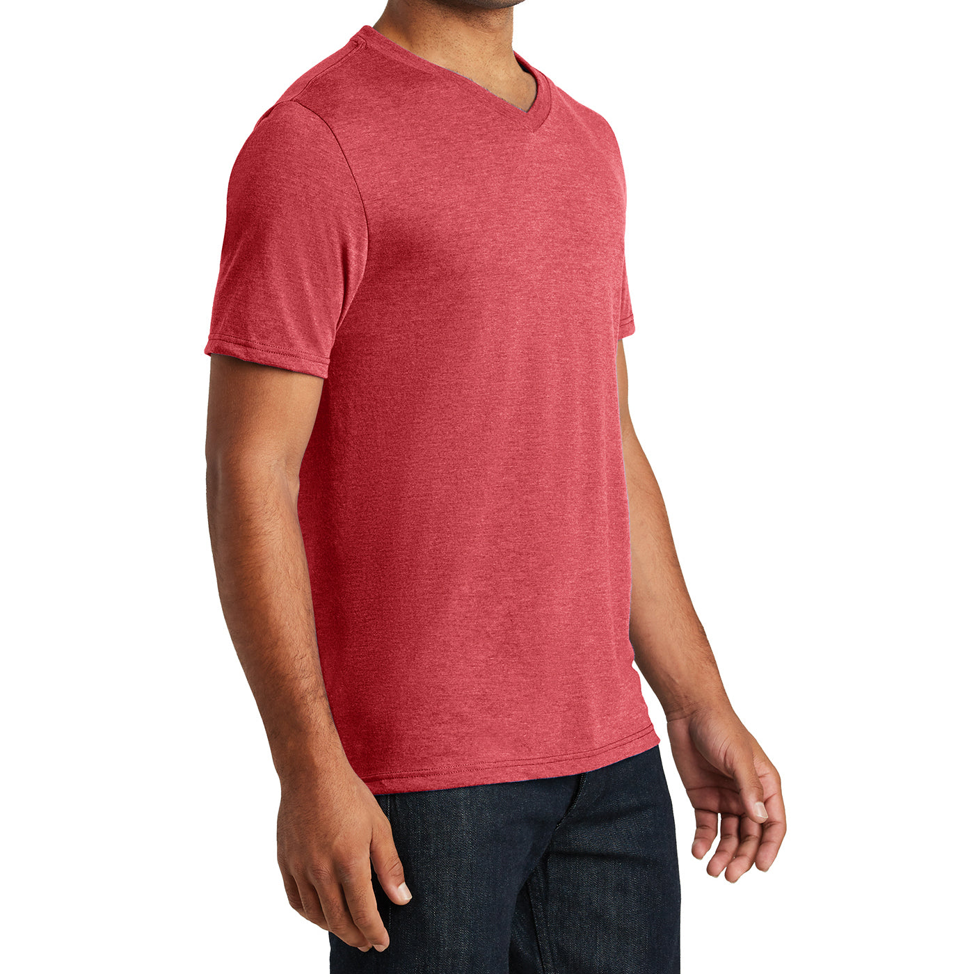 Mens Perfect Tri V-Neck Tee - Red Frost - Side
