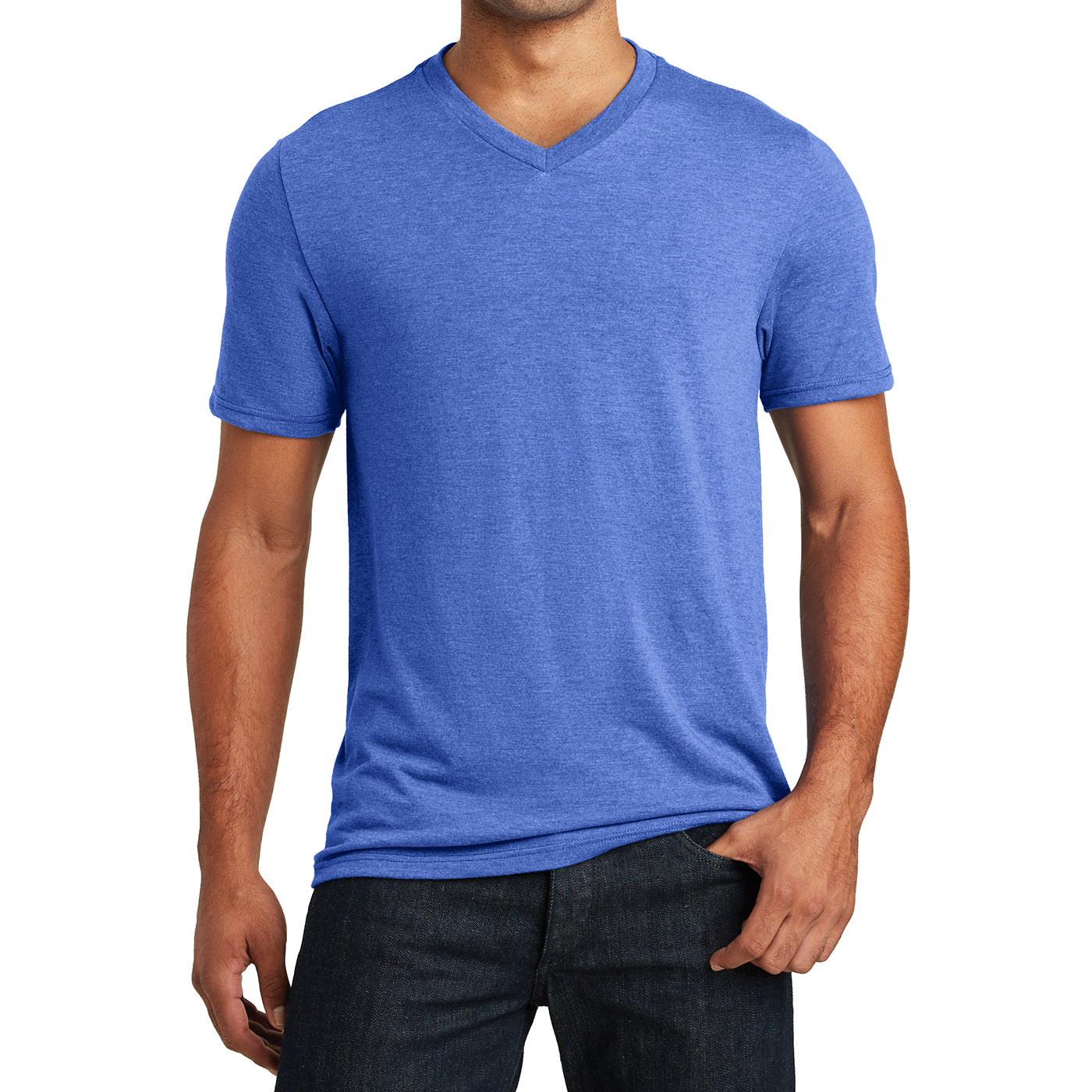 Mens Perfect Tri V-Neck Tee - Royal Frost - Front