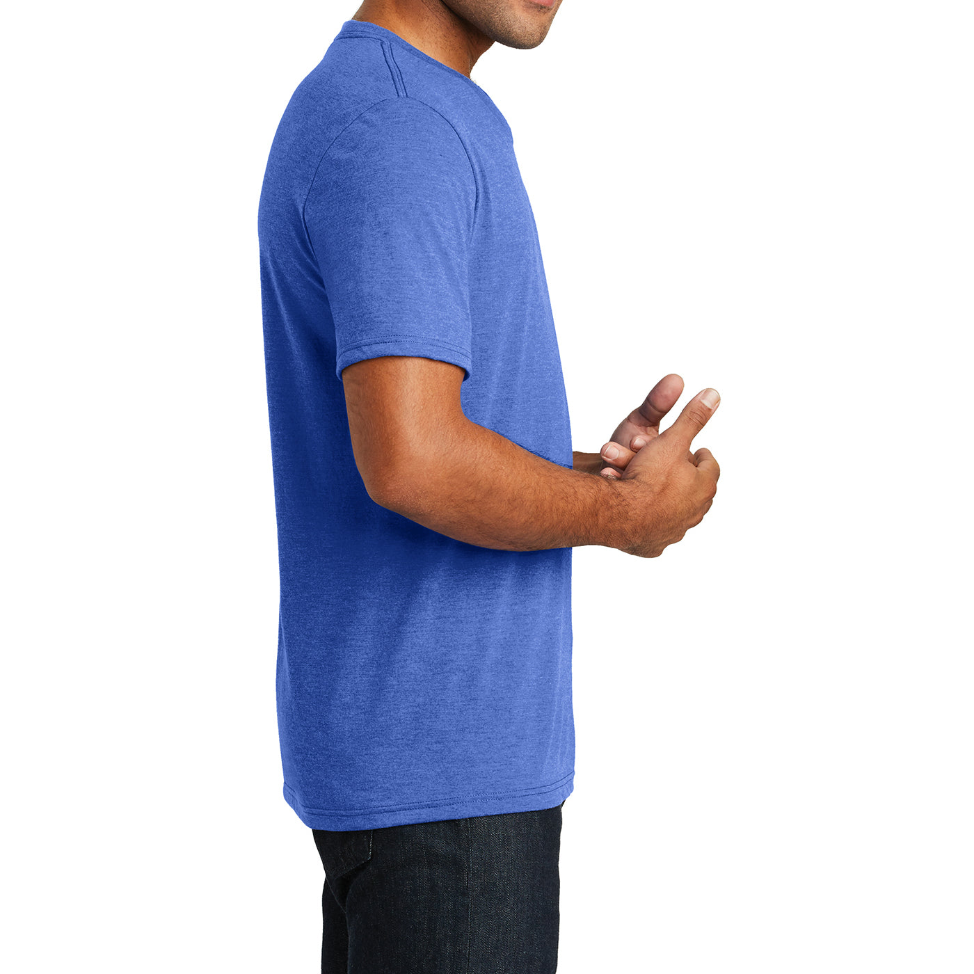 Mens Perfect Tri V-Neck Tee - Royal Frost - Side