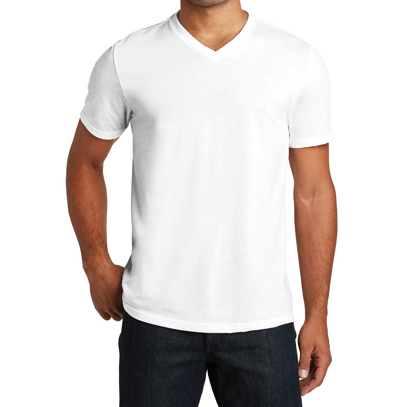 Mens Perfect Tri V-Neck Tee - White - Front