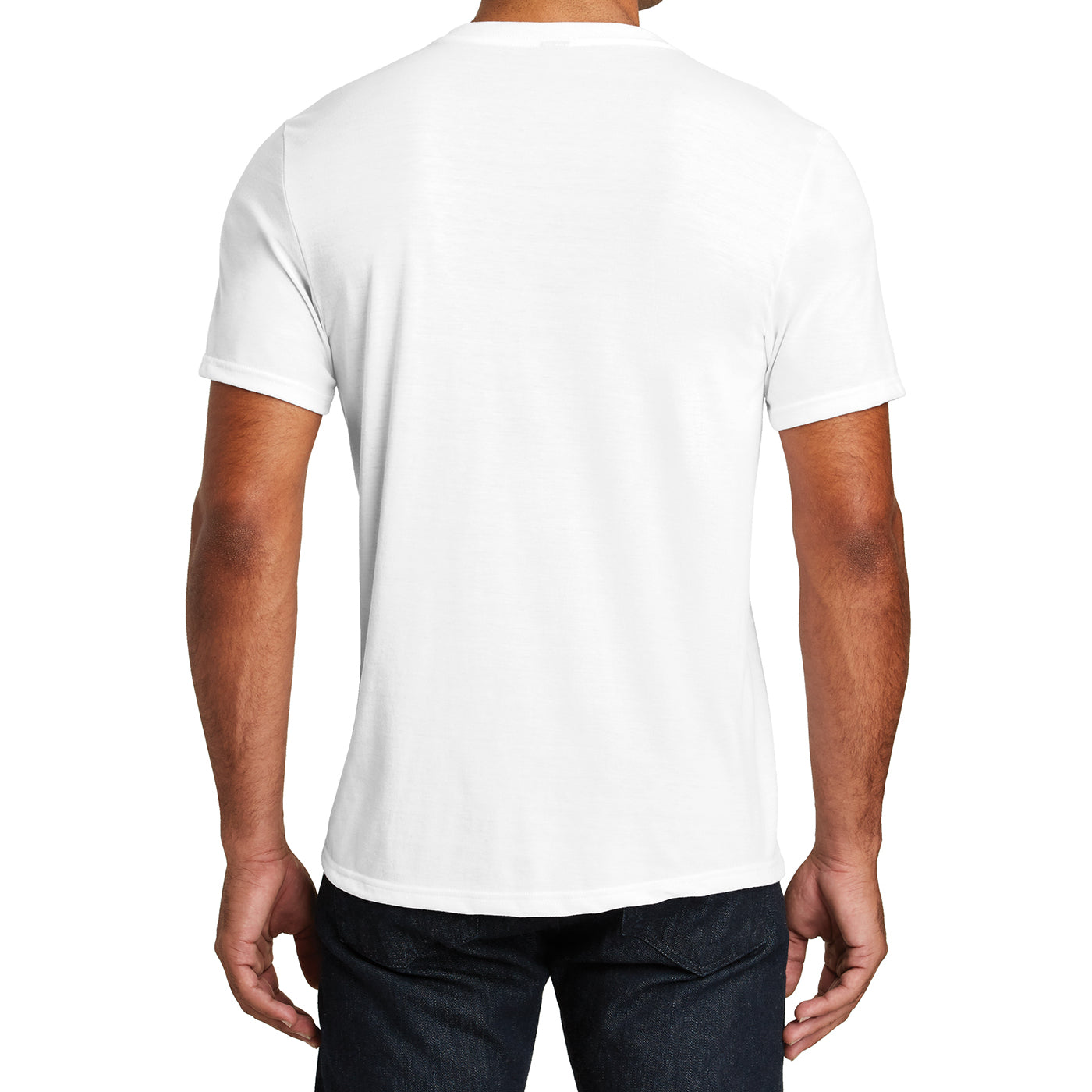 Mens Perfect Tri V-Neck Tee - White - Back