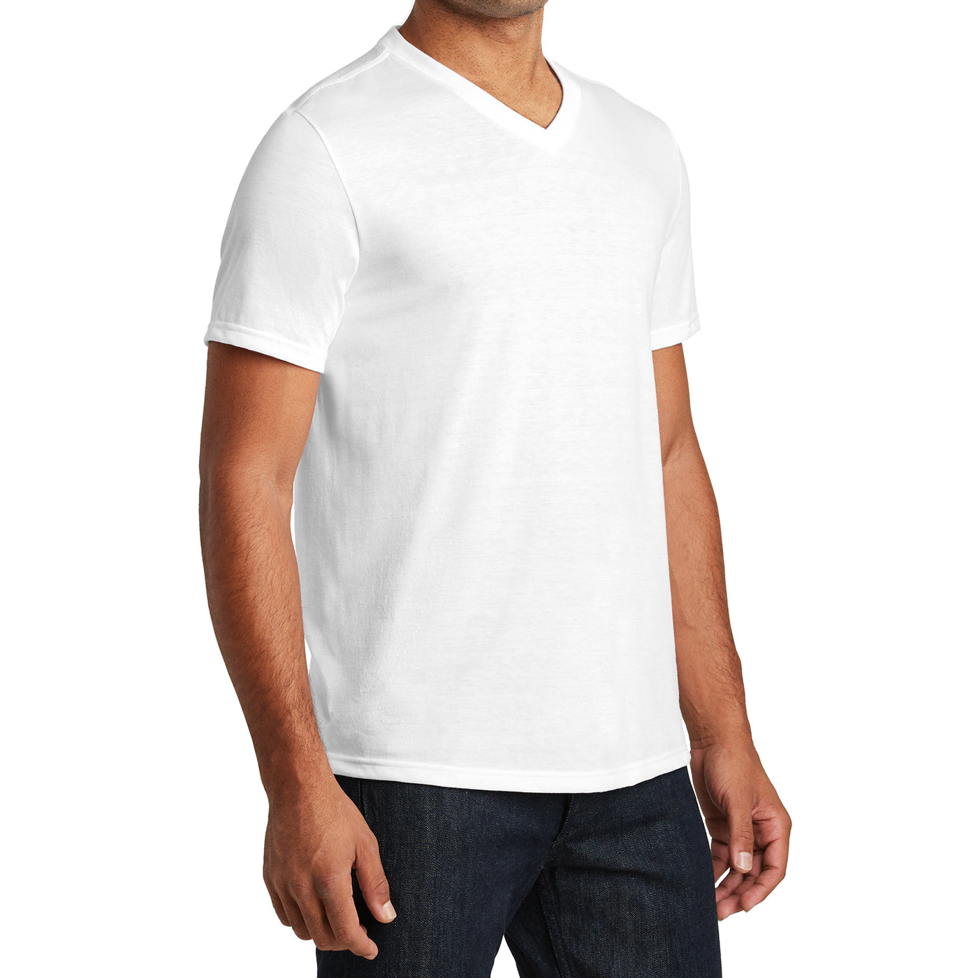 Mens Perfect Tri V-Neck Tee - White - Side