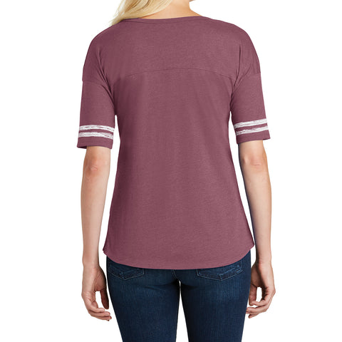 Women's Scorecard Tee Distressed Printed Stripes - Heathered Cardinal/White - Back