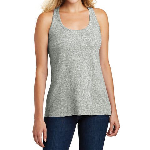 Ladies Cosmic Twist Back Tank Grey Astro - Front