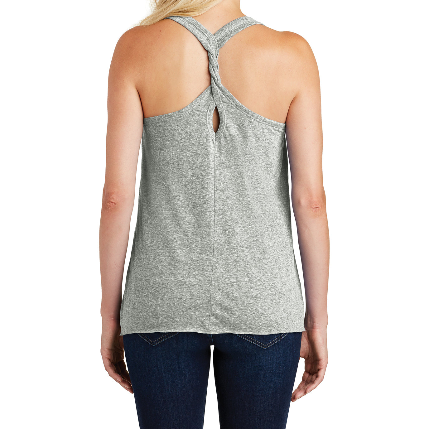 Ladies Cosmic Twist Back Tank Grey Astro - Back